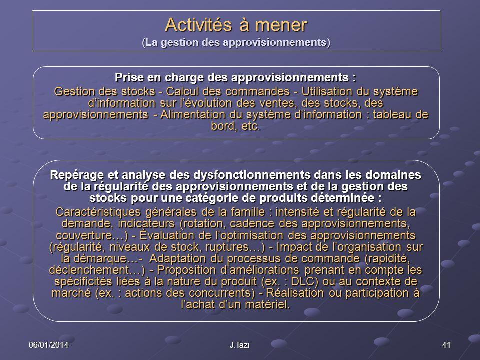 Activités à mener (La gestion des approvisionnements)