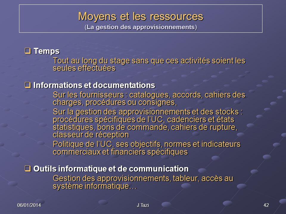Moyens et les ressources (La gestion des approvisionnements)