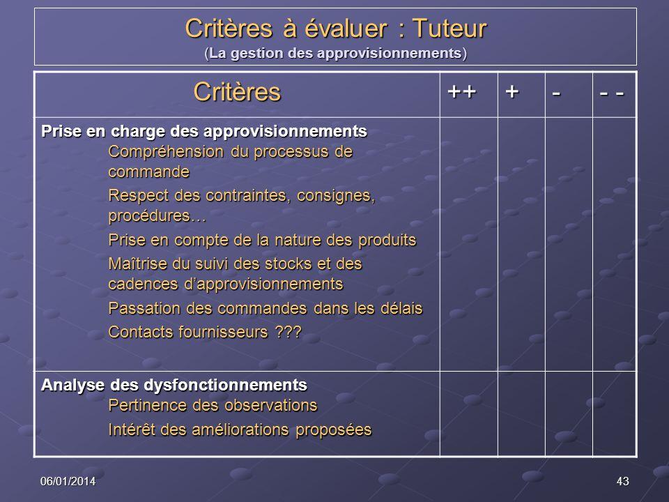 Critères à évaluer : Tuteur (La gestion des approvisionnements)