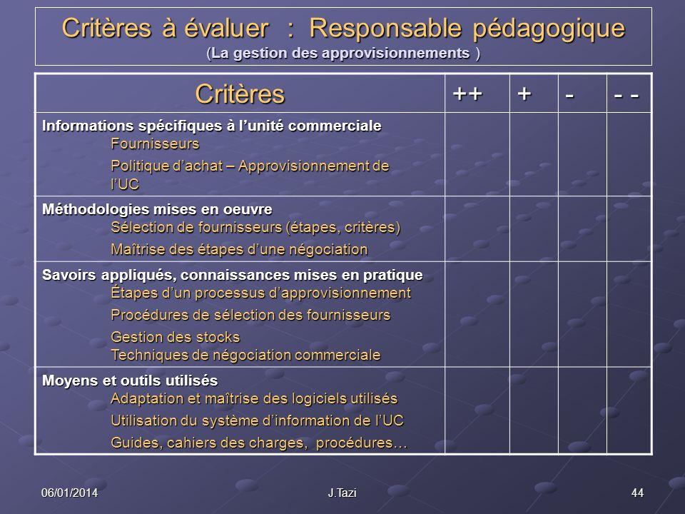 Critères à évaluer : Responsable pédagogique (La gestion des approvisionnements )