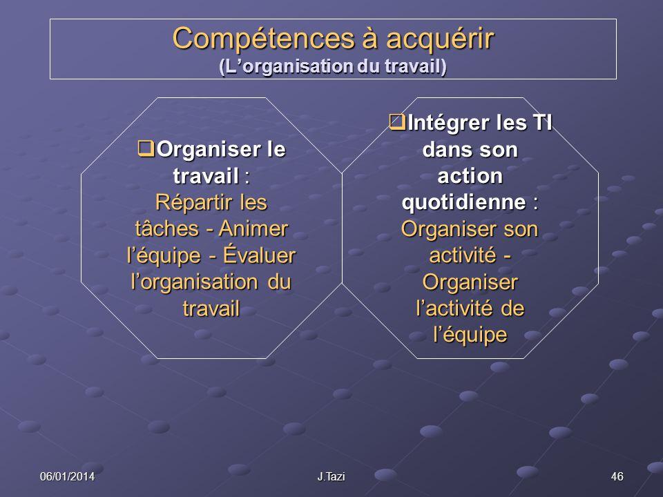 Compétences à acquérir (L'organisation du travail)