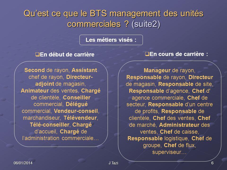 Qu'est ce que le BTS management des unités commerciales (suite2)