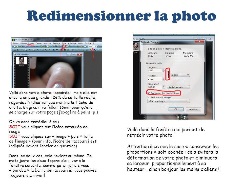 Redimensionner la photo
