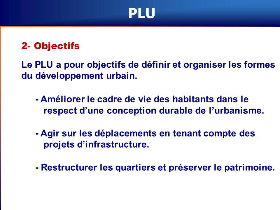 PLU 2- Objectifs. Le PLU a pour objectifs de définir et organiser les formes du développement urbain.