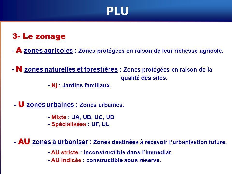 PLU 3- Le zonage. - A zones agricoles : Zones protégées en raison de leur richesse agricole.