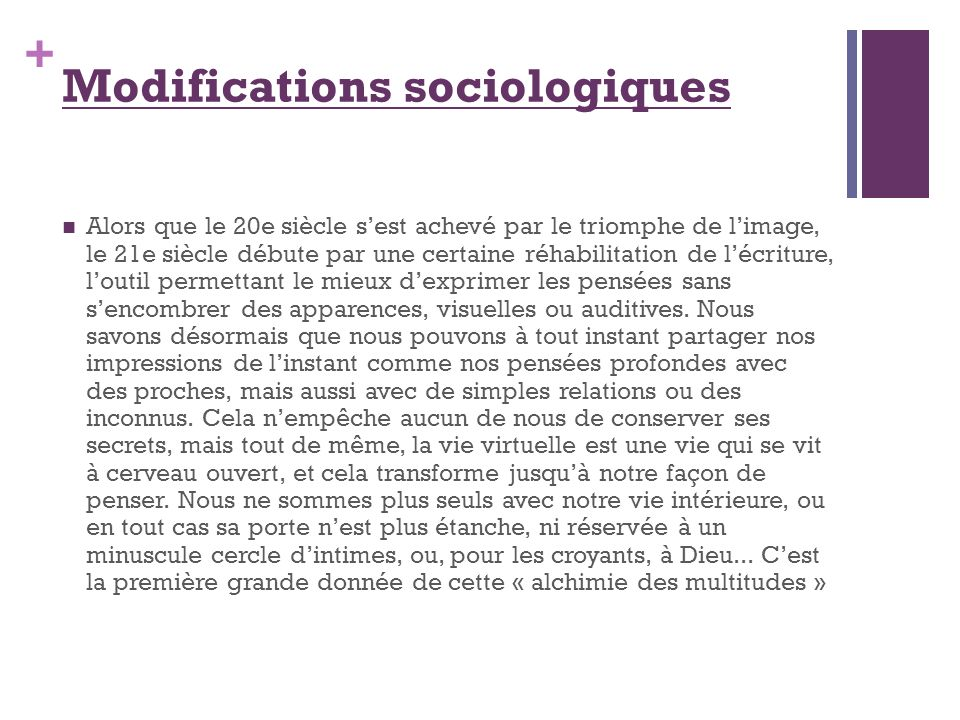 Modifications sociologiques