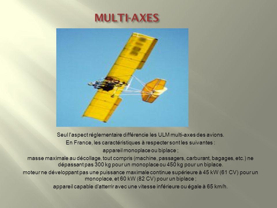 MULTI-AXES Seul l aspect réglementaire différencie les ULM multi-axes des avions. En France, les caractéristiques à respecter sont les suivantes :