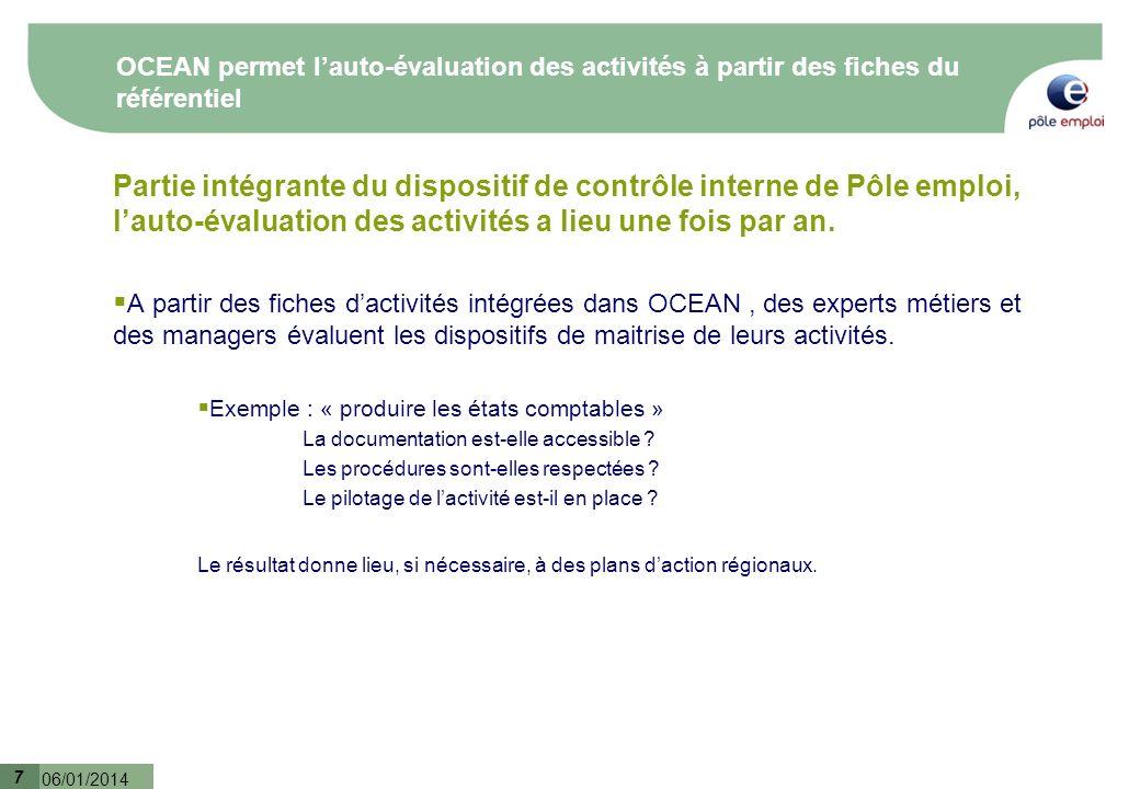 OCEAN permet l'auto-évaluation des activités à partir des fiches du référentiel