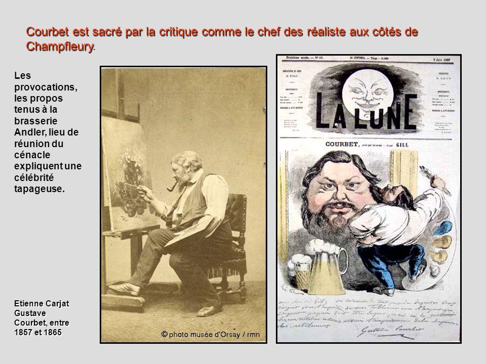 Courbet est sacré par la critique comme le chef des réaliste aux côtés de Champfleury.