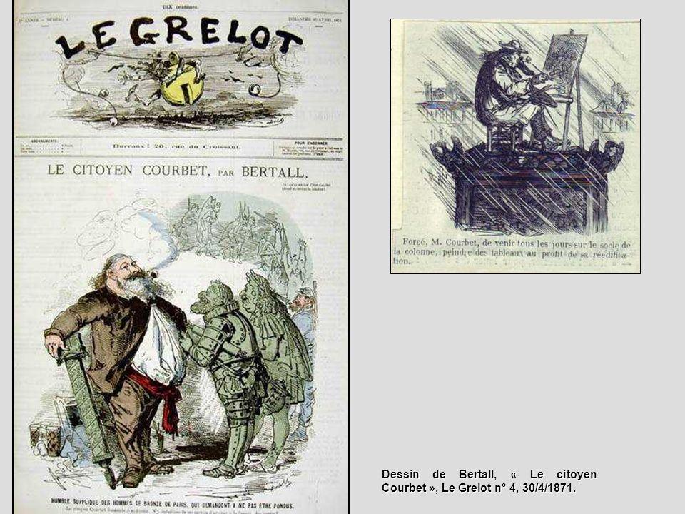 Dessin de Bertall, « Le citoyen Courbet », Le Grelot n° 4, 30/4/1871.