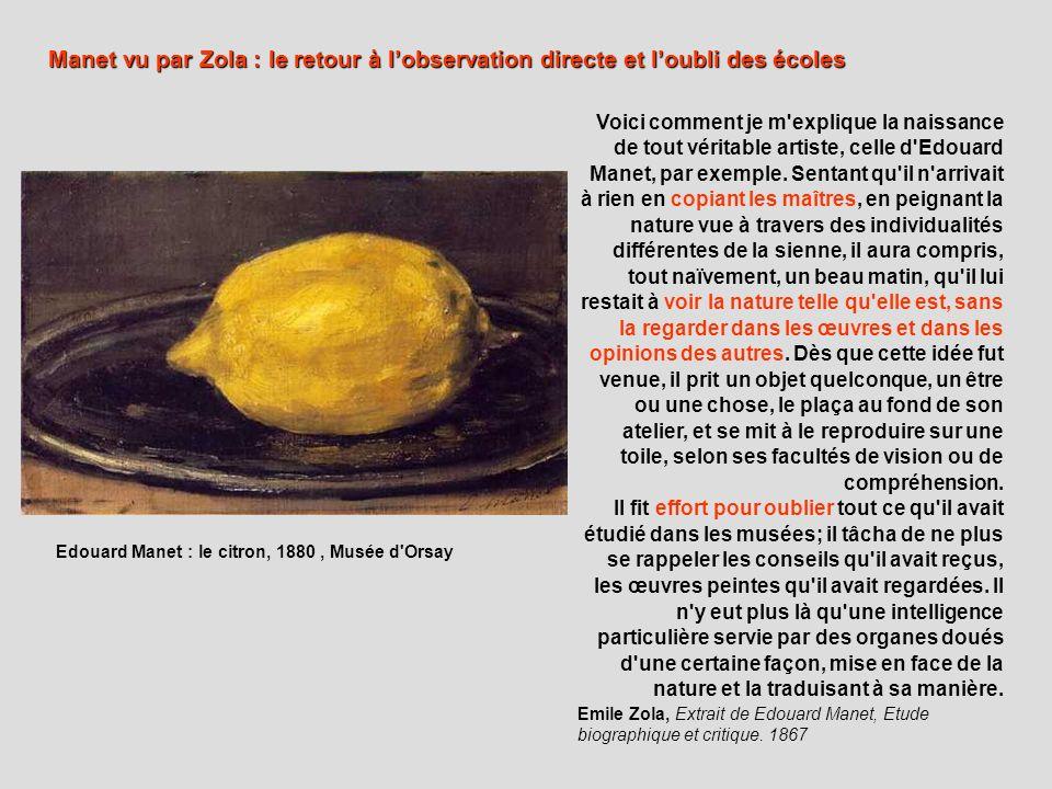 Manet vu par Zola : le retour à l'observation directe et l'oubli des écoles