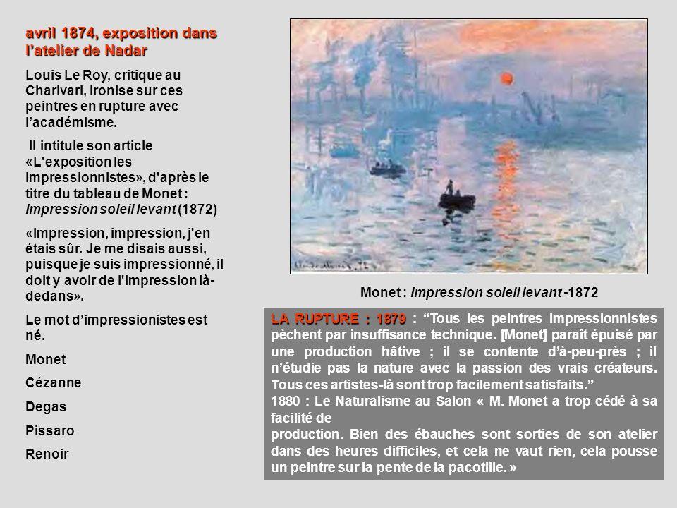 Monet : Impression soleil levant -1872