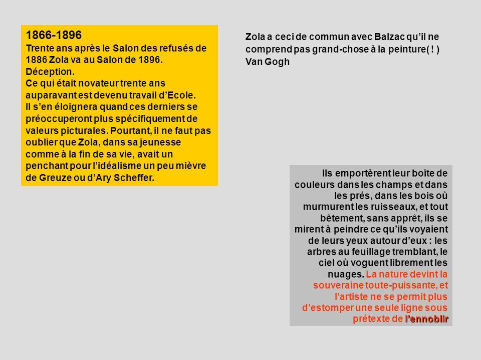 1866-1896 Trente ans après le Salon des refusés de 1886 Zola va au Salon de 1896. Déception.