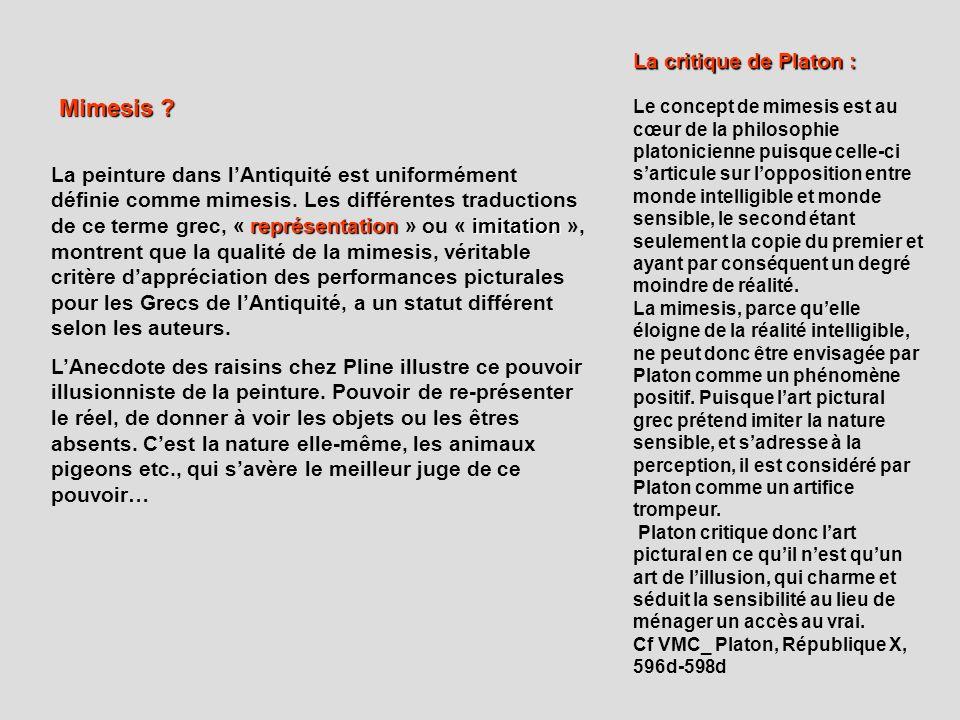Mimesis La critique de Platon :