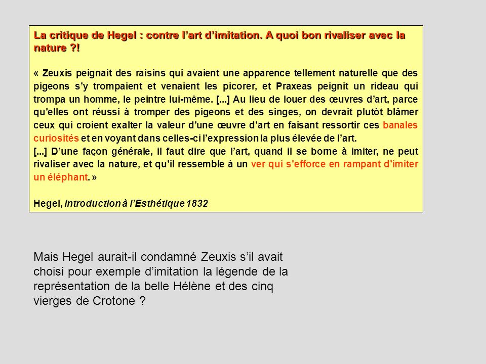 La critique de Hegel : contre l'art d'imitation