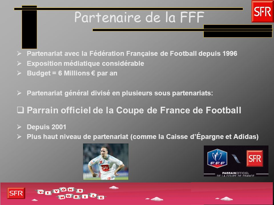 Partenaire de la FFFPartenariat avec la Fédération Française de Football depuis 1996. Exposition médiatique considérable.