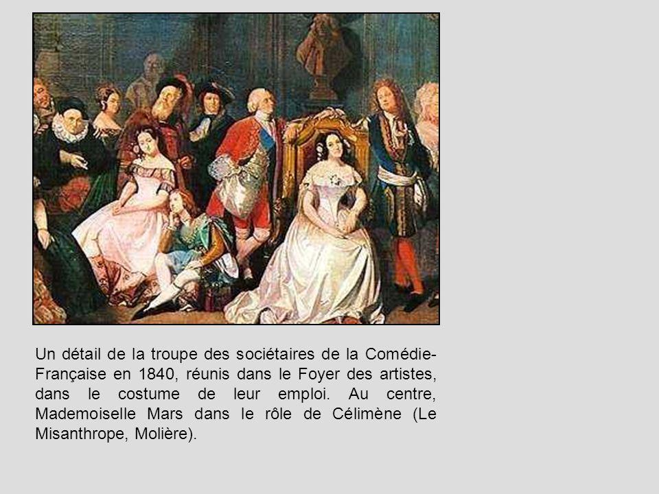 Un détail de la troupe des sociétaires de la Comédie-Française en 1840, réunis dans le Foyer des artistes, dans le costume de leur emploi.