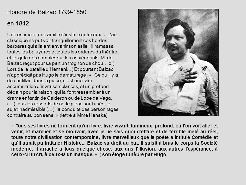 Honoré de Balzac 1799-1850en 1842.