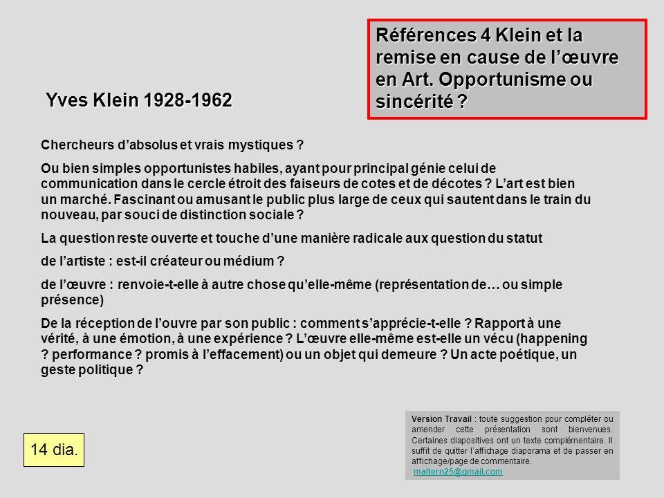 Références 4 Klein et la remise en cause de l'œuvre en Art