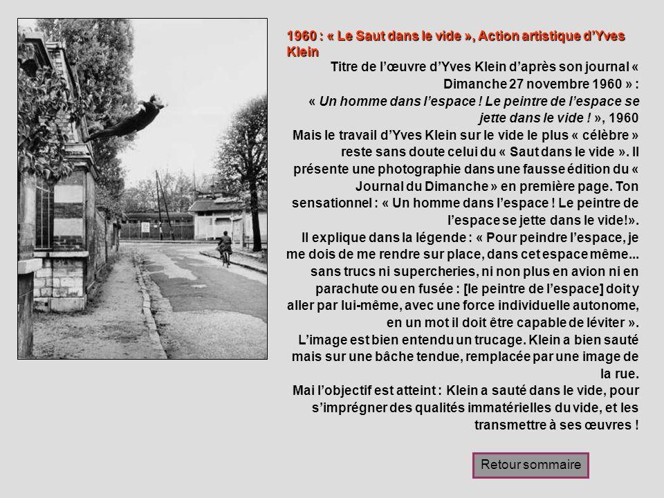 1960 : « Le Saut dans le vide », Action artistique d'Yves Klein