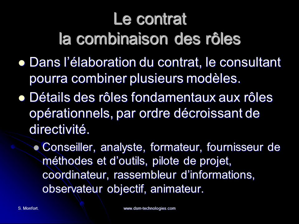 Le contrat la combinaison des rôles