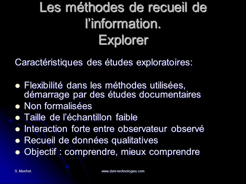 Les méthodes de recueil de l'information. Explorer
