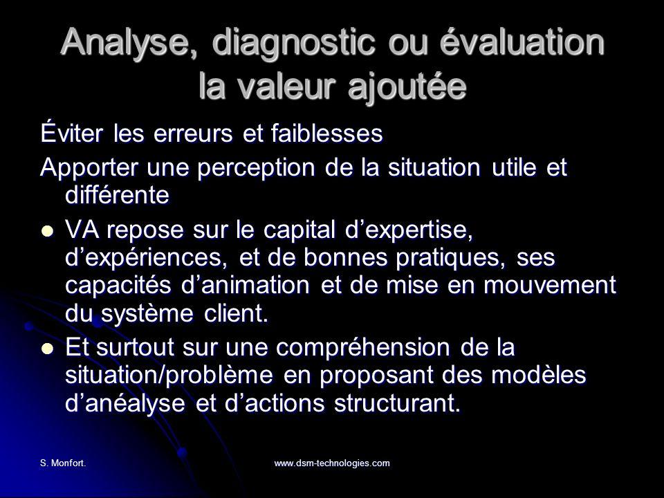 Analyse, diagnostic ou évaluation la valeur ajoutée