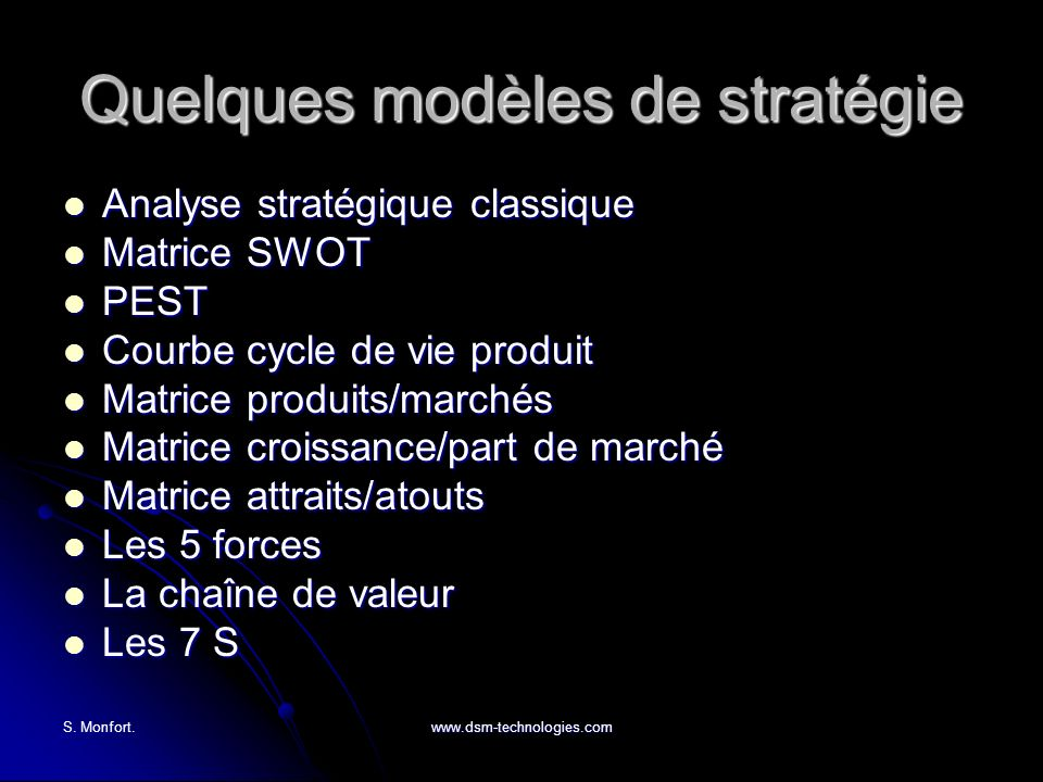 Quelques modèles de stratégie