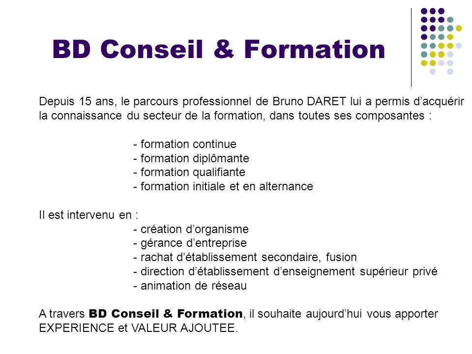 BD Conseil & Formation Depuis 15 ans, le parcours professionnel de Bruno DARET lui a permis d'acquérir.