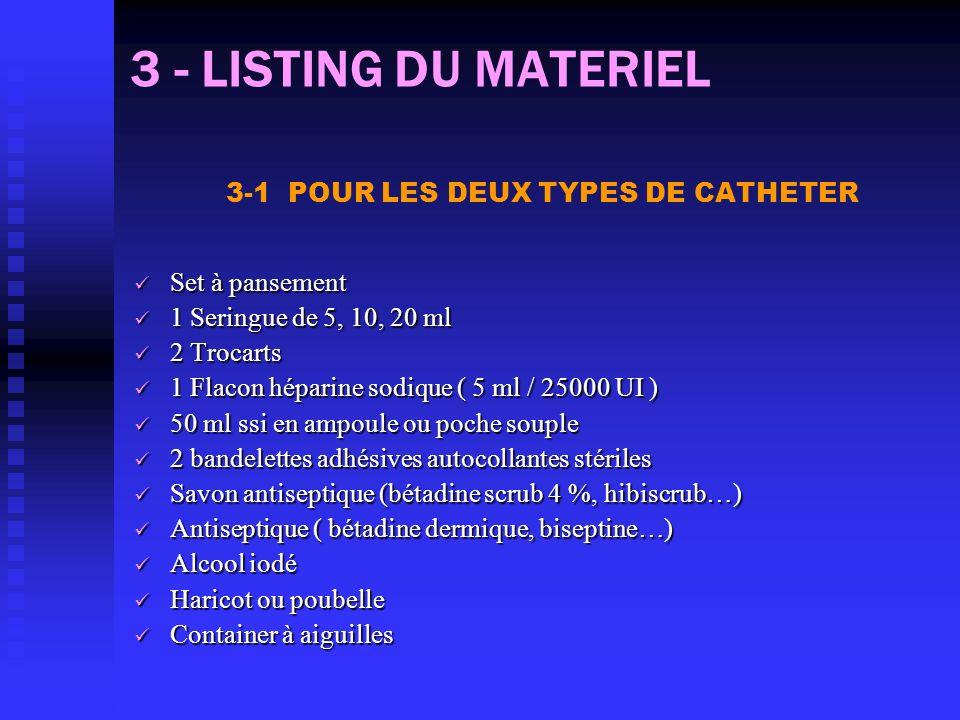 3 - LISTING DU MATERIEL 3-1 POUR LES DEUX TYPES DE CATHETER