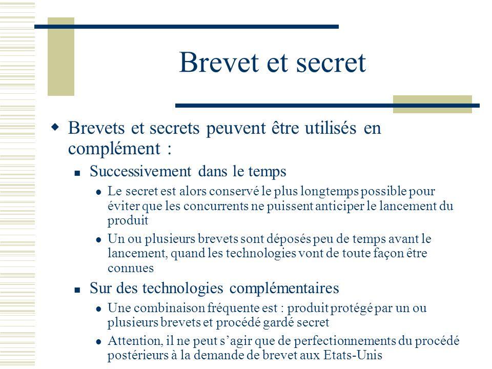 Brevet et secret Brevets et secrets peuvent être utilisés en complément : Successivement dans le temps.