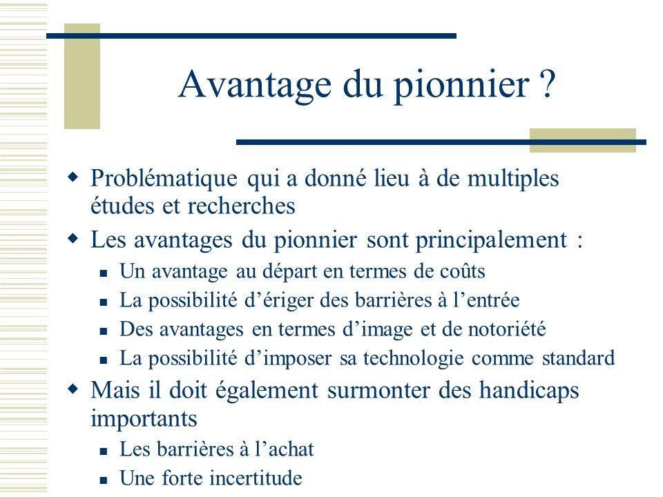 Avantage du pionnier Problématique qui a donné lieu à de multiples études et recherches. Les avantages du pionnier sont principalement :