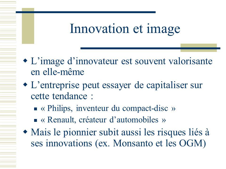 Innovation et image L'image d'innovateur est souvent valorisante en elle-même. L'entreprise peut essayer de capitaliser sur cette tendance :