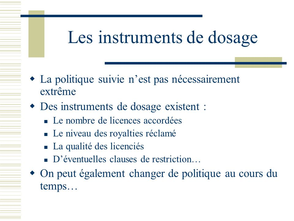 Les instruments de dosage