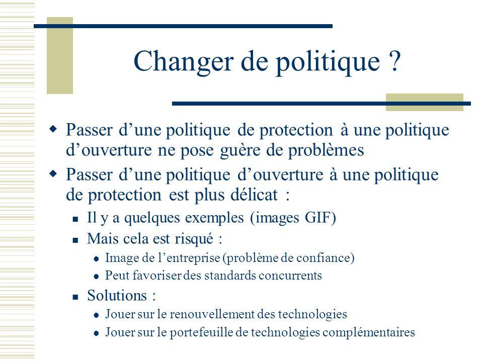 Changer de politique Passer d'une politique de protection à une politique d'ouverture ne pose guère de problèmes.