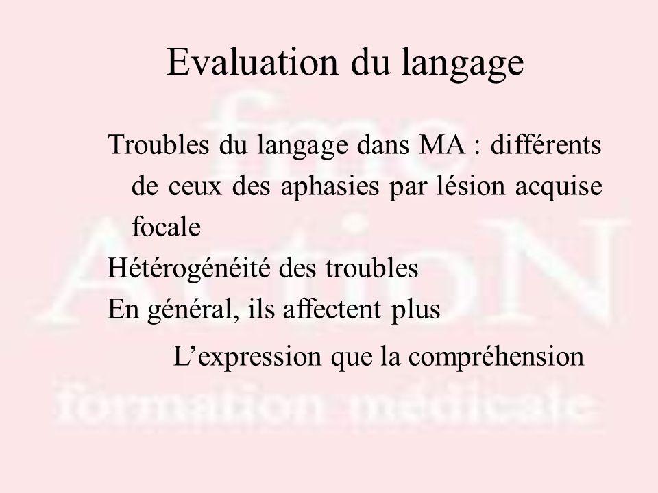 Drs S.LOTTON & R.THIRION Evaluation du langage. Troubles du langage dans MA : différents de ceux des aphasies par lésion acquise focale.