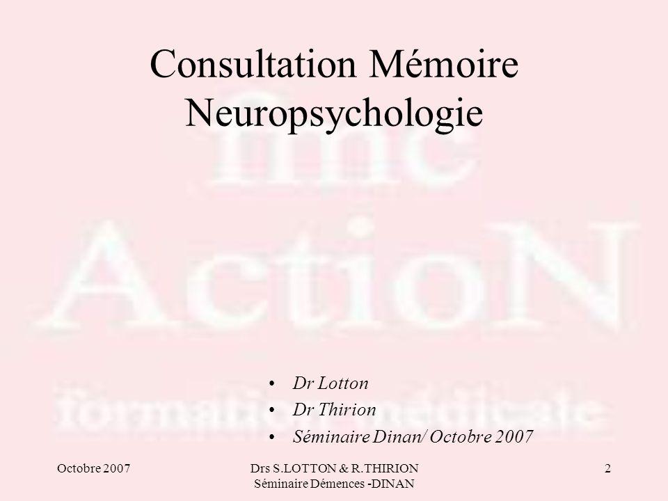 Consultation Mémoire Neuropsychologie