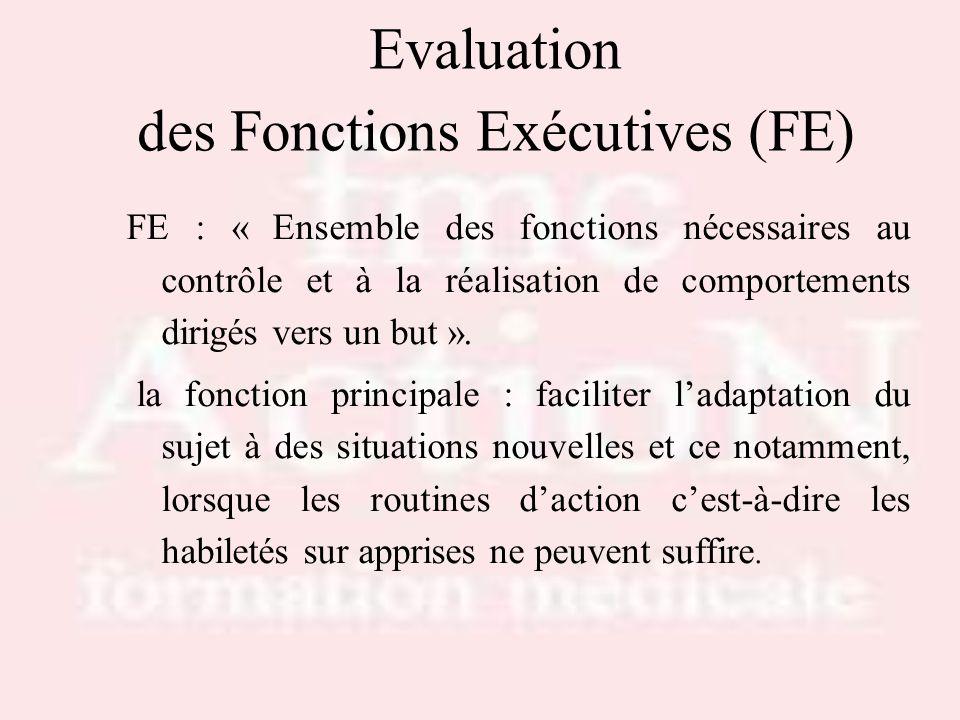 Evaluation des Fonctions Exécutives (FE)