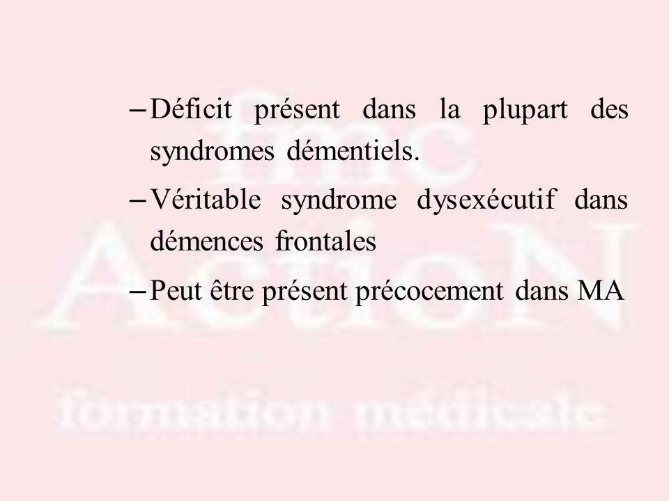Déficit présent dans la plupart des syndromes démentiels.