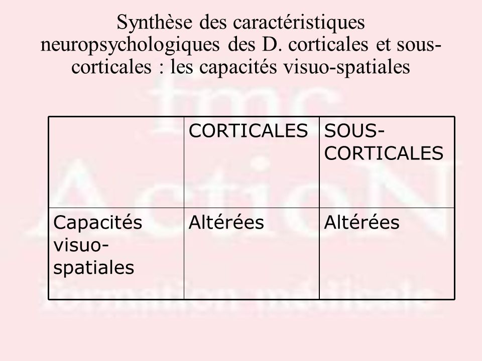 Drs S.LOTTON & R.THIRIONSynthèse des caractéristiques neuropsychologiques des D. corticales et sous-corticales : les capacités visuo-spatiales.