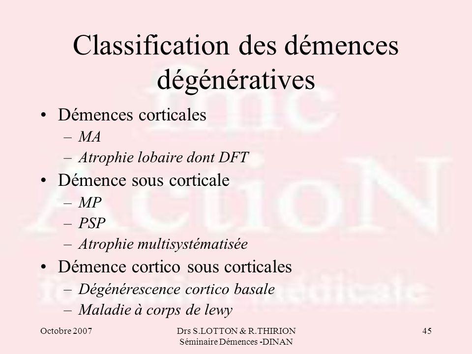 Classification des démences dégénératives
