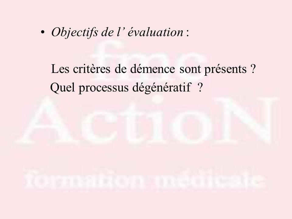 Objectifs de l' évaluation : Les critères de démence sont présents