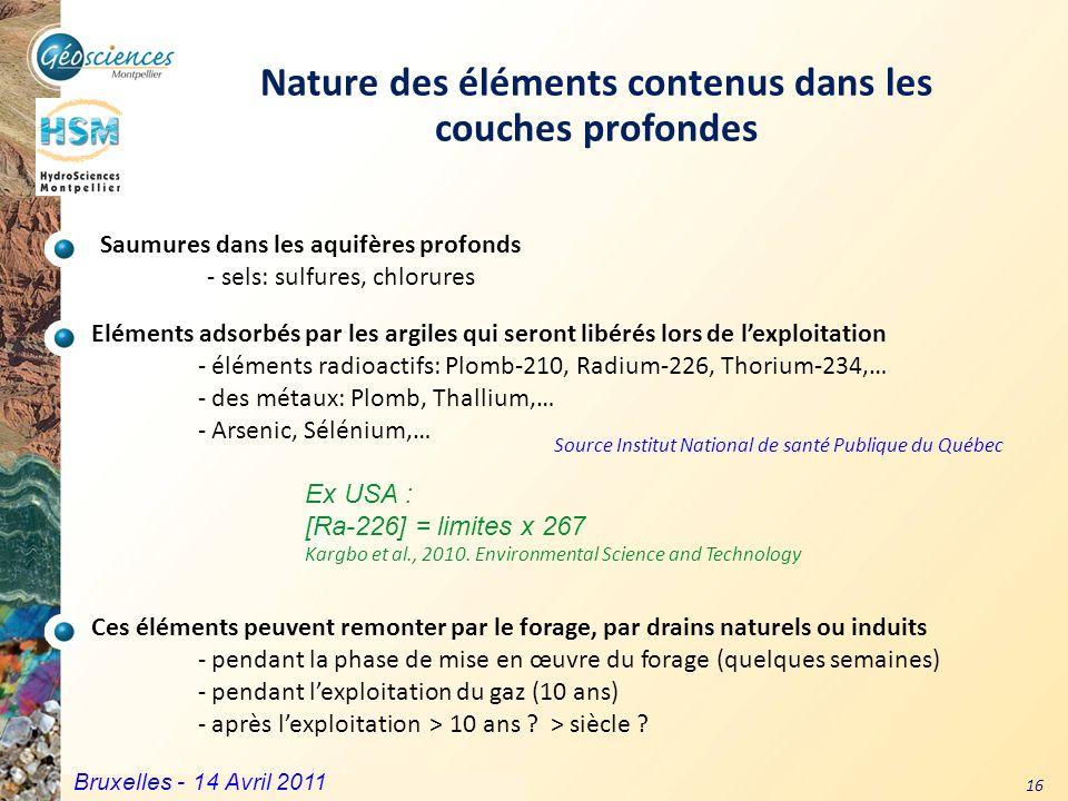 Nature des éléments contenus dans les couches profondes