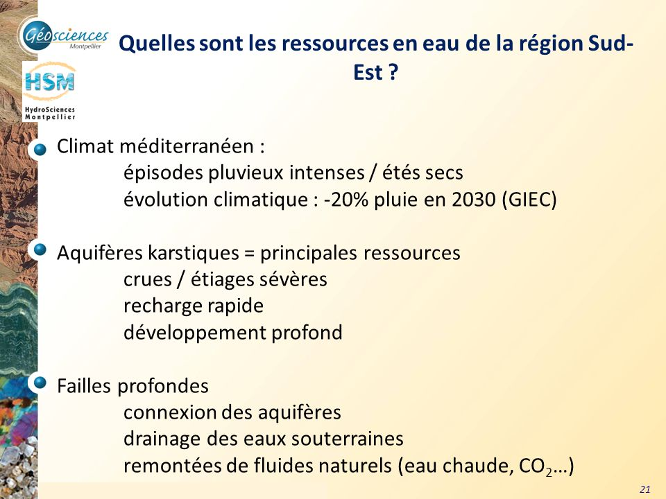 Quelles sont les ressources en eau de la région Sud-Est