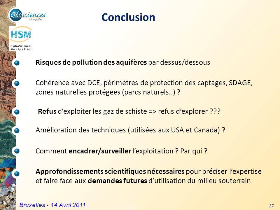 Conclusion Risques de pollution des aquifères par dessus/dessous