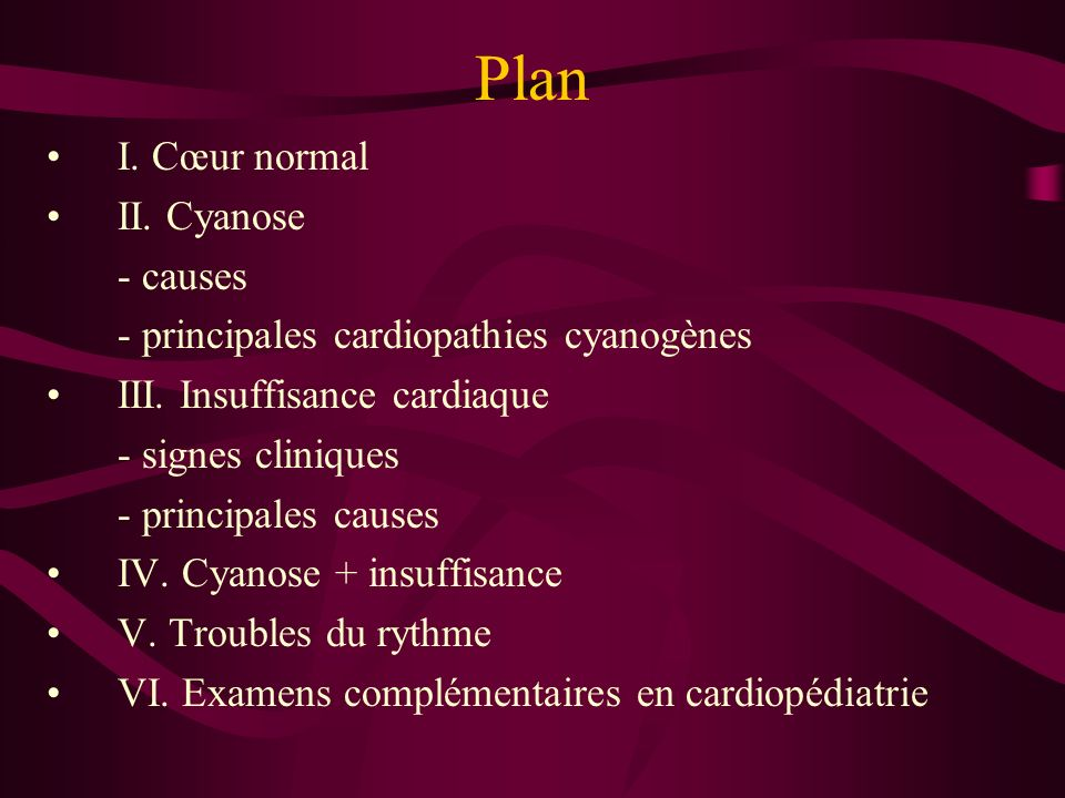 Plan I. Cœur normal II. Cyanose - causes