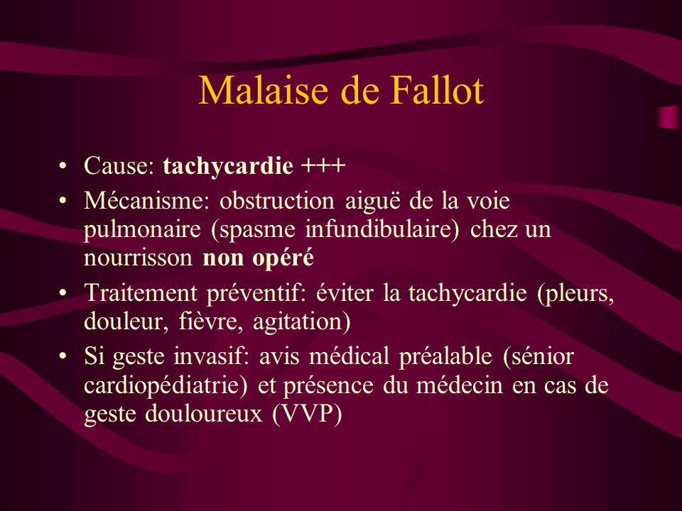 Malaise de Fallot Cause: tachycardie +++