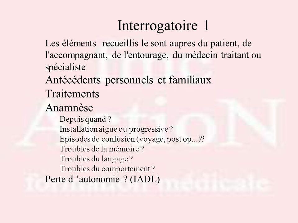 Interrogatoire 1 Antécédents personnels et familiaux Traitements