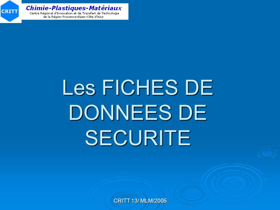 Les FICHES DE DONNEES DE SECURITE