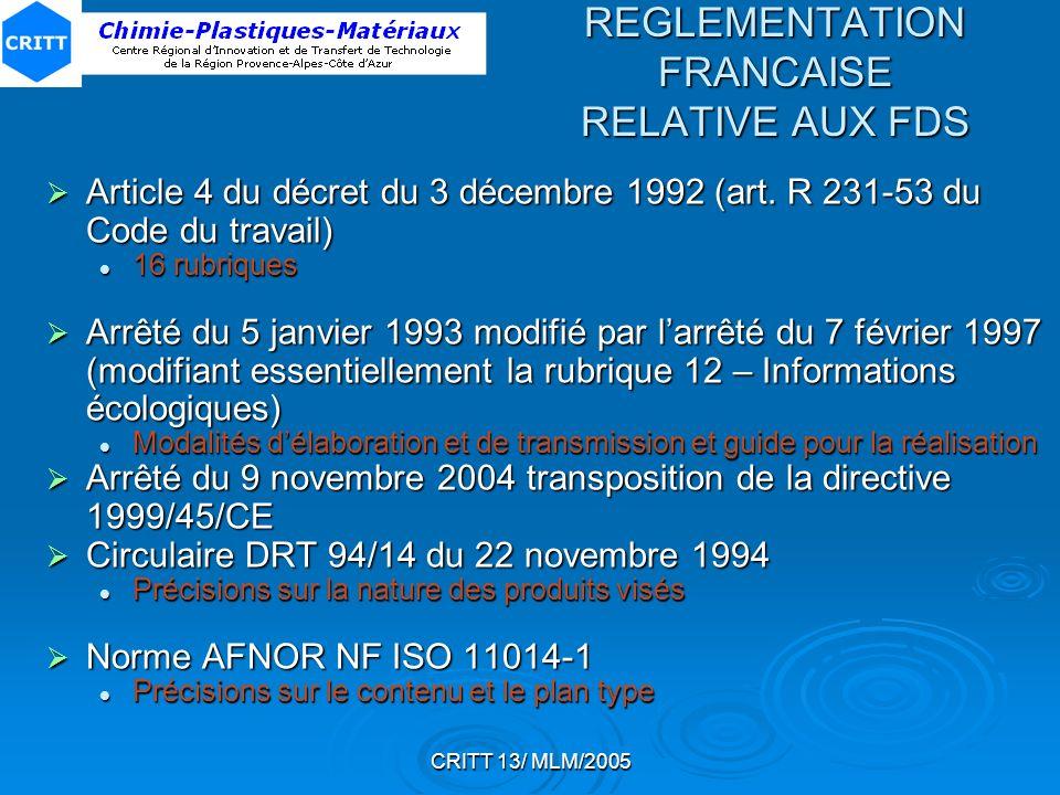 REGLEMENTATION FRANCAISE RELATIVE AUX FDS